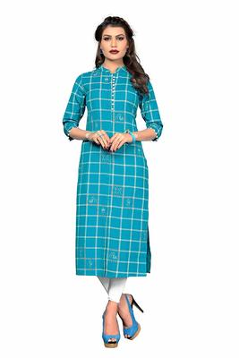 Sky-blue printed cotton party-wear-kurtis