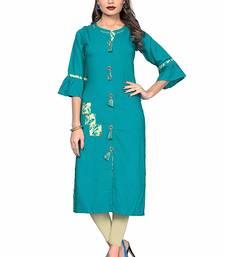 Sky-blue hand woven rayon party-wear-kurtis