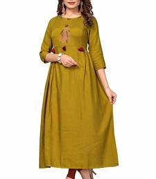 Mustard embroidered cotton party-wear-kurtis