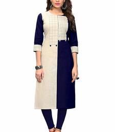 Blue hand woven cotton party-wear-kurtis