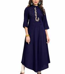 Navy-blue embroidered rayon party-wear-kurtis