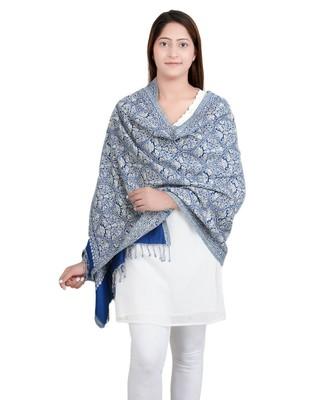 Blue/White Paisley Viscose Jacquard Shawl Reversible (70X200 cm)