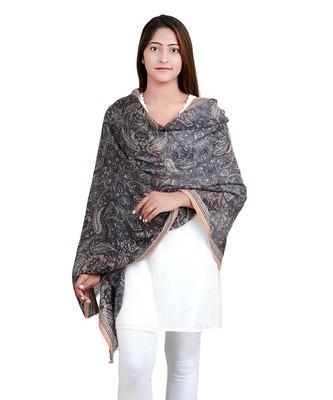 Grey Multicolour Paisley Print Wool Shawl (70X200 cm)