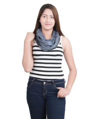 Grey/Black Modal Wool Stole (50X180 cm)