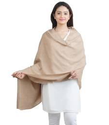 Beige Paisley Fine Wool Shawl (70X200 cm)
