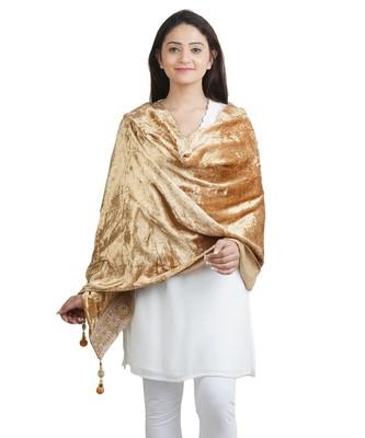 Gold Solid Velvet Shawl (65X200 cm)