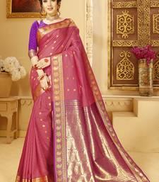 light pink hand woven silk blend saree with blouse