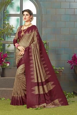 light chiku printed silk blend saree with blouse