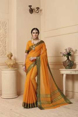 yellow hand woven cotton saree with blouse
