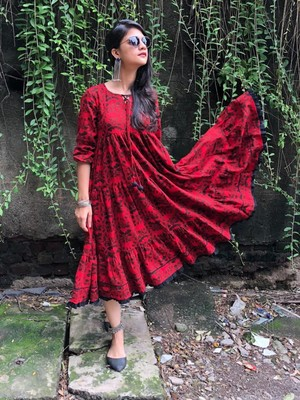 Red and black banjara layered dress