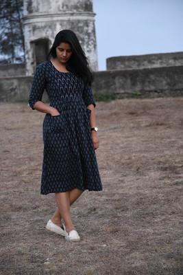 Dark blue handwoven ikat dress