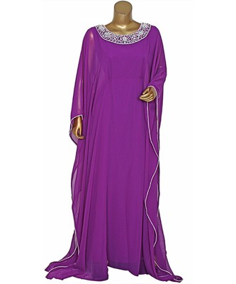 Purple Embroidered Crystal Beads work Chiffon Kaftan Gown Farasha