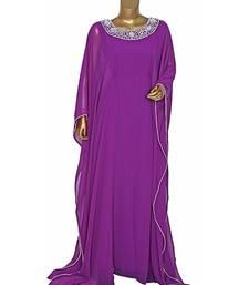 Purple Embroidered Crystal Beads work Chiffon Kaftan Gown Farasha