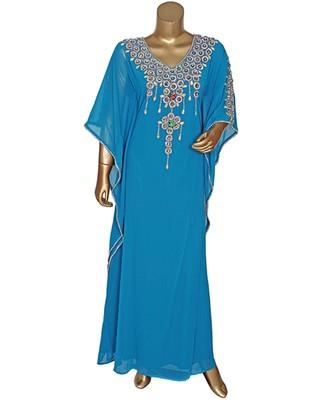 Turquoise Blue Embroidered stone work Traditional Chiffon Kaftan Gown Farasha