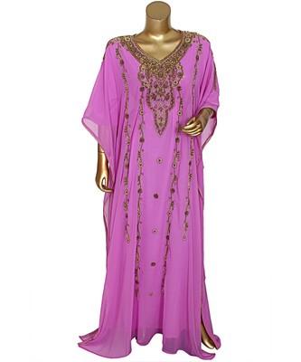 Lilac Embroidered Beads work Traditional Islamic Chiffon Kaftan Gown Farasha