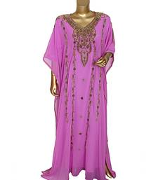 Lilac Embroidered Beads work Traditional Islamic Chiffon Kaftan Gown Farasha