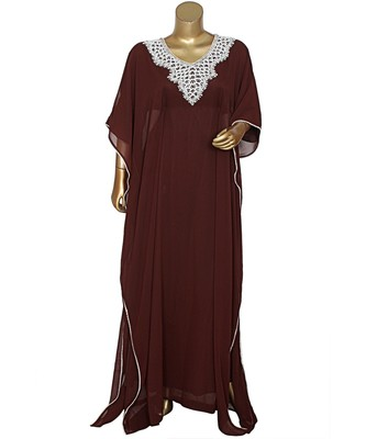 Brown Embroidered Stone Beads work Traditional Chiffon Kaftan Gown Farasha