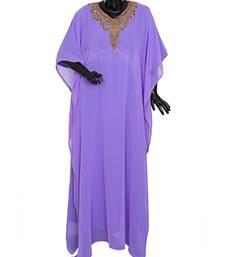 Lilac Embroiderd Traditional Classic Islamic Dubai Kaftan Gown Farasha