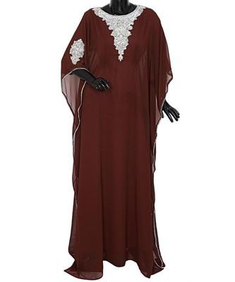 Brown Embroidered Crystal Embellished Arabian Traditional Chiffon Kaftan Farasha