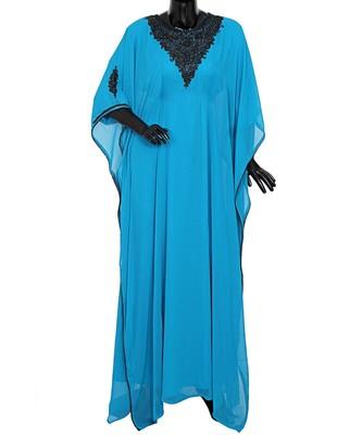 Turquoise Blue Embroidered Beads Embellished Traditional Chiffon Kaftan Farasha