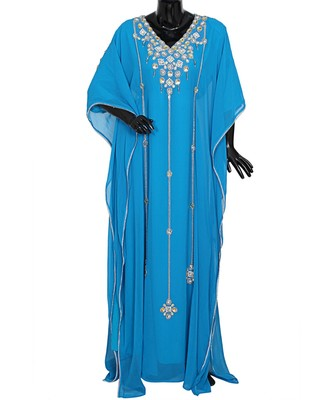 Turquoise Blue Embroidered Crystal Embellished Chiffon Kaftan Abaya Farasha