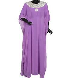 Lilac Traditional Islamic Stone work Georgette Kaftan Gown Farasha