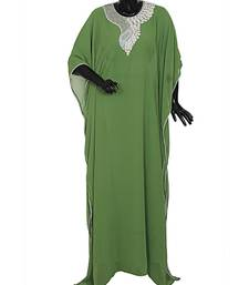 Olive Green Traditional Islamic Stone work Chiffon Kaftan Gown Farasha
