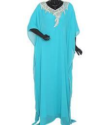 Aqua Green Crystal Embellished Traditional Arabian Kaftan Gown Farasha Caftan