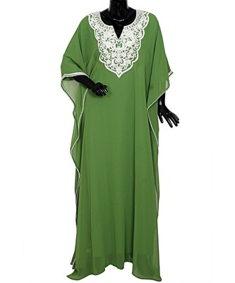 Olive Green Embroidered Beads Embellished Chiffon Kaftan Gown Farasha