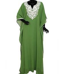 Olive Green Embroidered Beads Embellished Chiffon Kaftan Gown Farasha