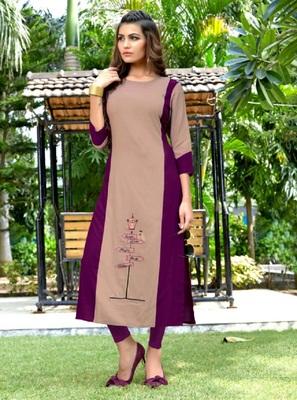 Multicolor embroidered rayon kurti