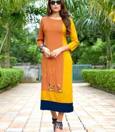Orange embroidered rayon kurti