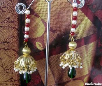 Brass_Jhumkas_White_Green_Red_Beads