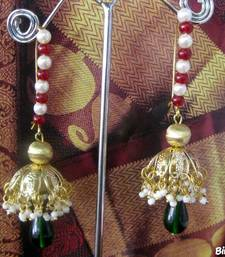 Brass_Jhumkas_White_Green_Red_Beads shop online