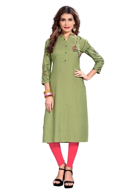 Light-green embroidered rayon kurti