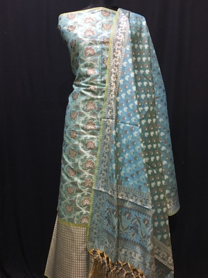 blue woven banarasi cotton unstitched salwar with dupatta