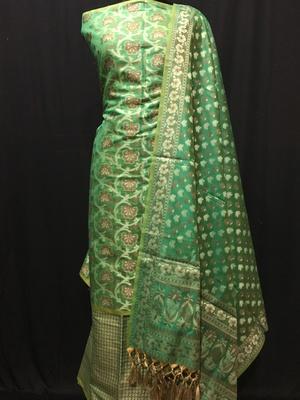 green woven banarasi cotton unstitched salwar with dupatta