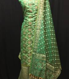 green woven banarasi cotton unstitched salwar with dupatta