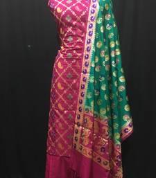 pink woven katan silk unstitched salwar with dupatta