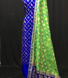 blue woven katan silk unstitched salwar with dupatta
