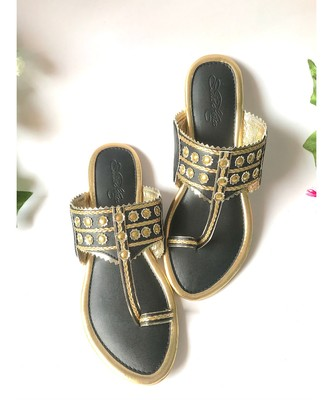Mystic Black Gold Filigree Kolapuri