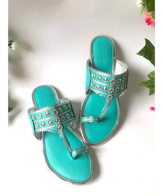 Turquoise Silver filigree Kolapuri