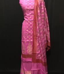 pink woven dupion silk unstitched salwar with dupatta