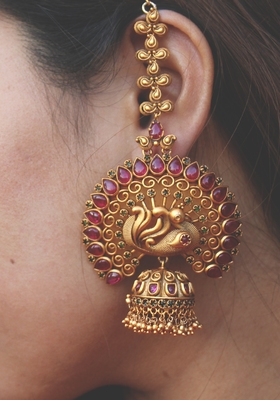 Ruby Red Temple Work Earrings