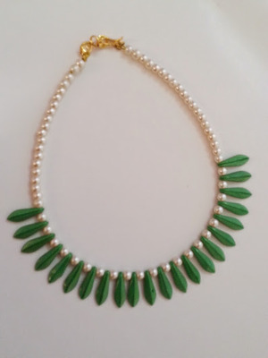White & Green Beaded Necklace for kids