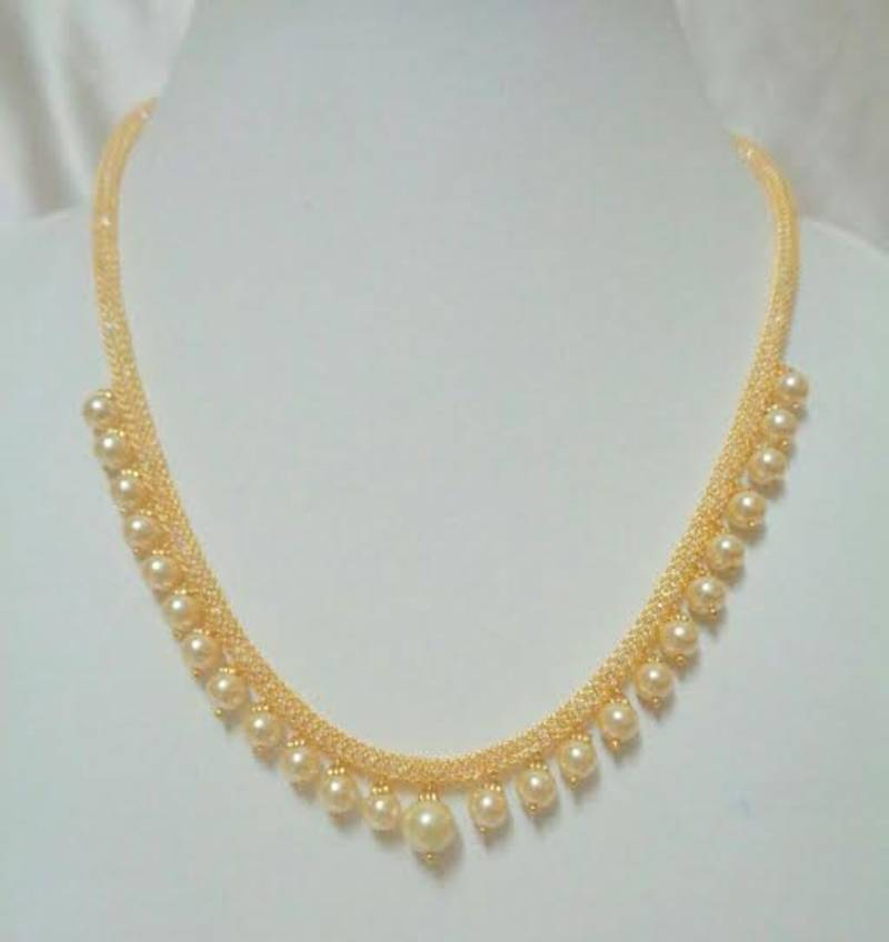 Buy Gold Color Pearls Necklace Online