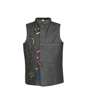 Musical Instrument Embroidered Denim Nehru Jacket