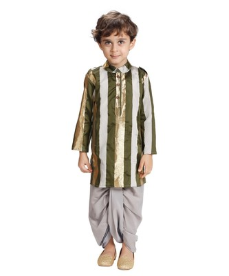 Emerald Stripe Dhoti Kurta Set