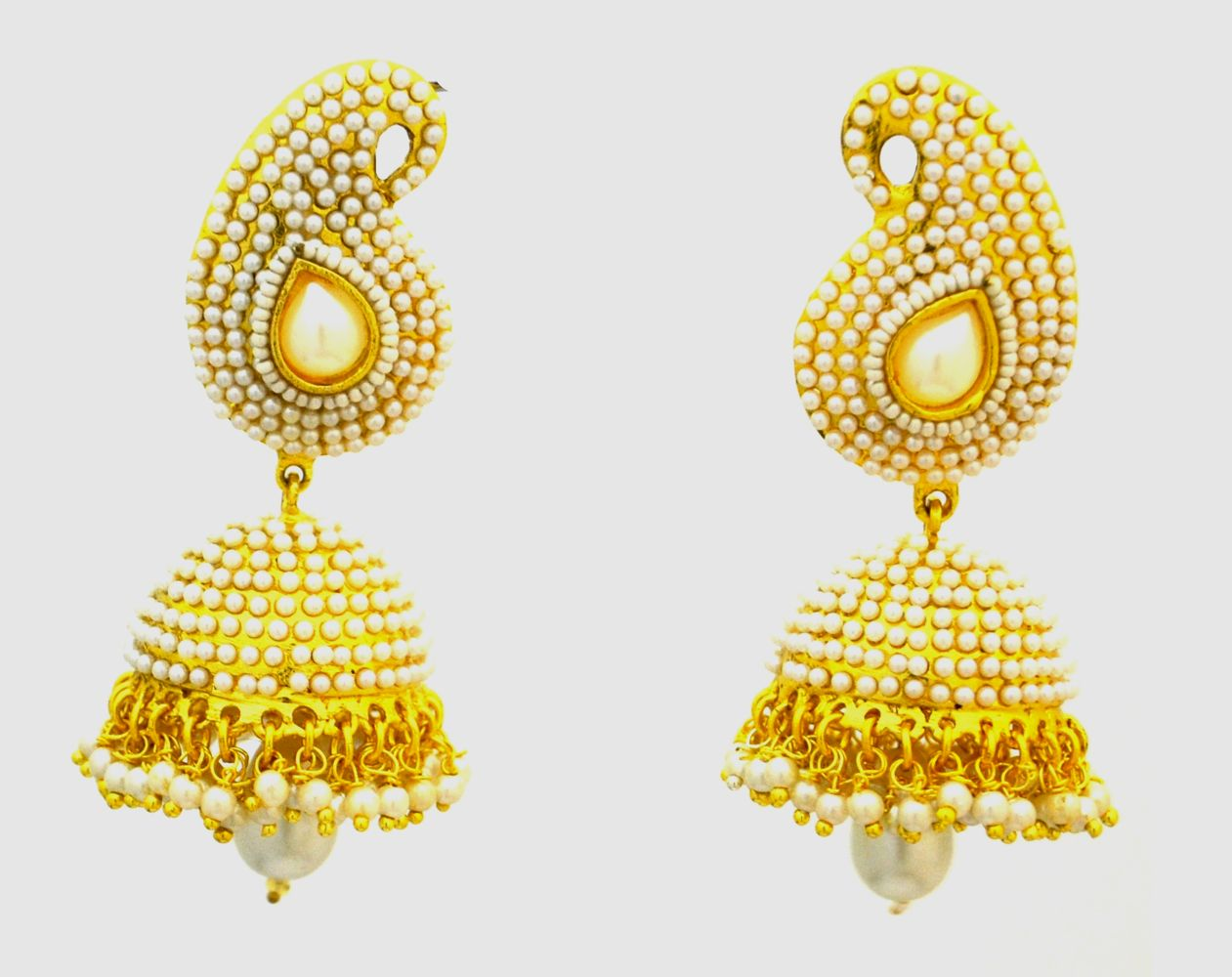 Buy Paisley Pearl Antique Golden Jhumka Danglers Free