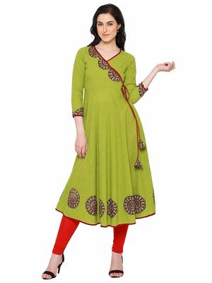 Parrot-green plain cotton kurti
